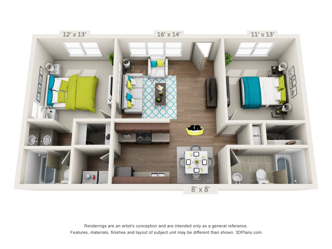 2x2 - Refreshed Floor Plan 4