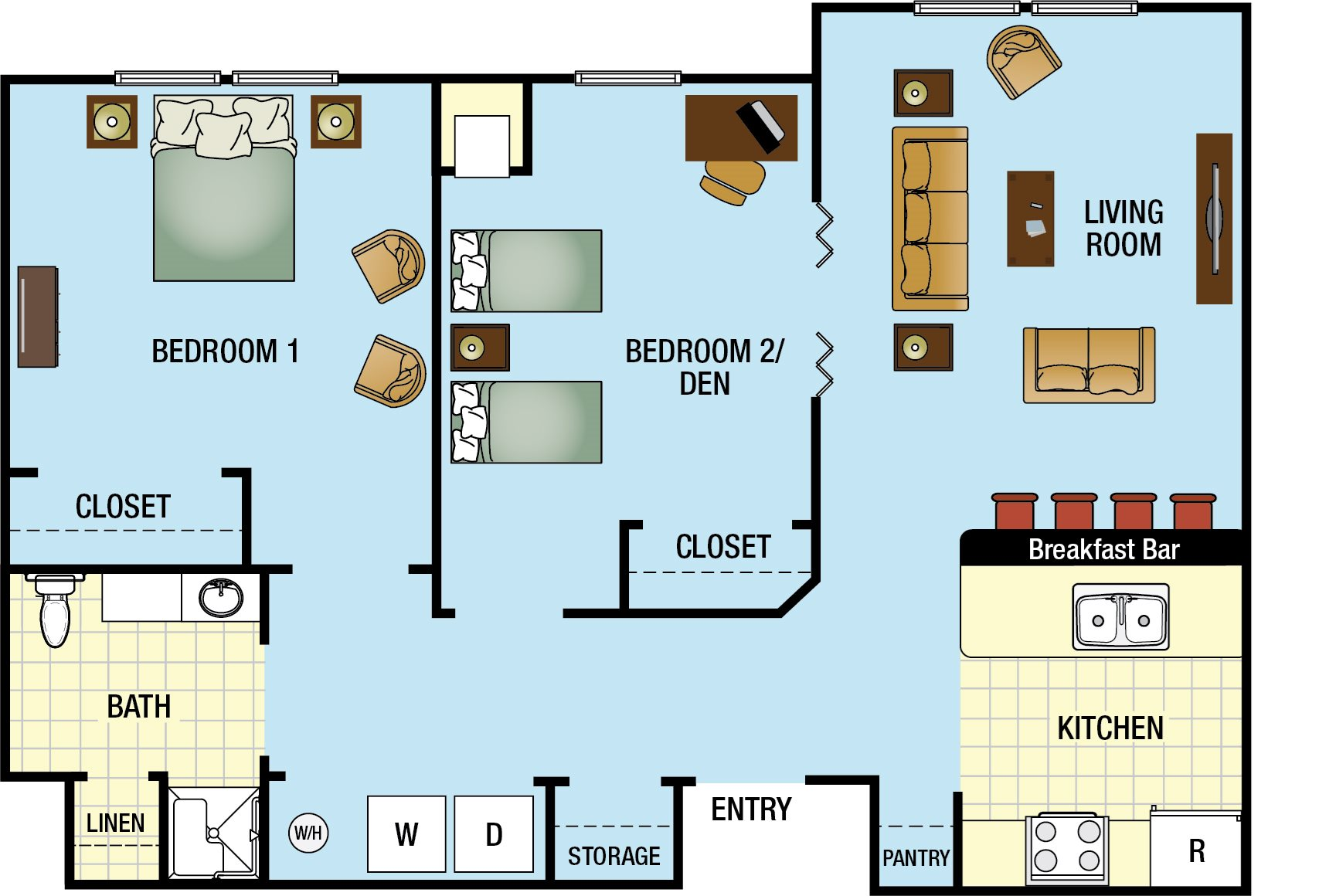 One Bedroom with Den Floor Plan 2