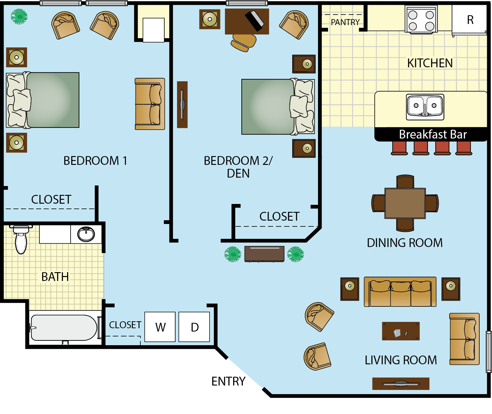 Two Bedroom One Bath Floor Plan 3