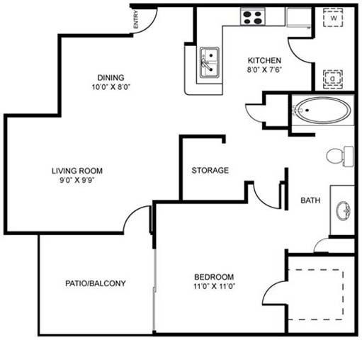 1A | One Bedroom Floor Plan 1
