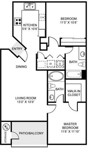 2A | Two Bedroom Floor Plan 2
