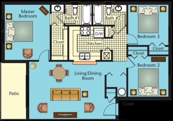 Three Bedroom Two Bath Floor Plan 1