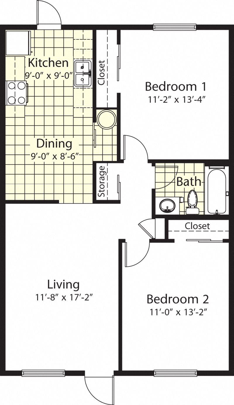 Two Bedroom One Bath Floor Plan 2