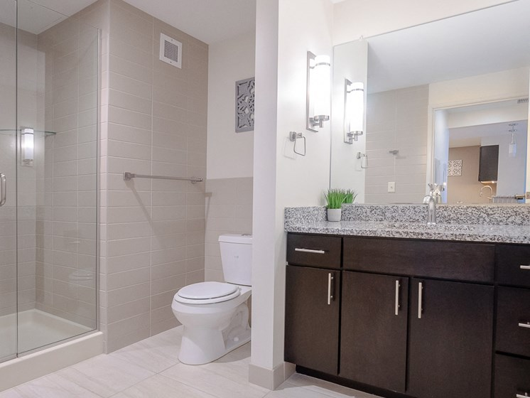 Bathroom at Innova Apartments in University Circle neighborhood of Cleveland, OH