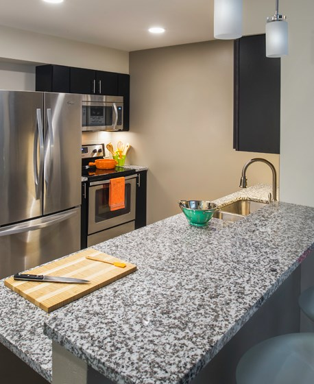 Kitchen at Innova Apartments in University Circle neighborhood of Cleveland, OH