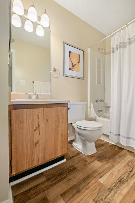 Bathroom with plank style flooring at Hawthorne at Southside