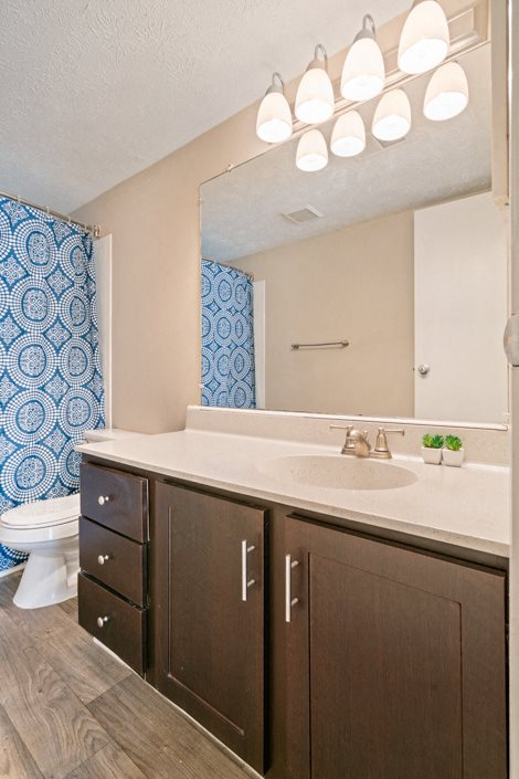 Bathroom at Hawthorne at Southside with cabinetry for all your needs