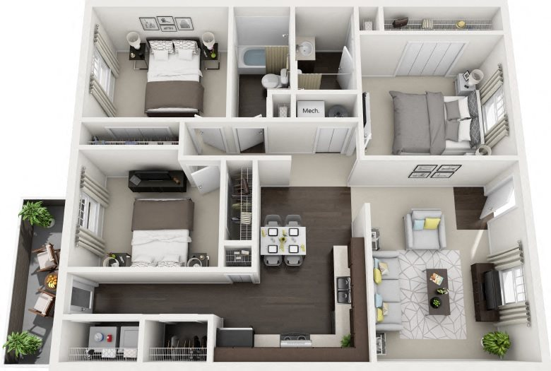 E1 Renovated Floor Plan 7