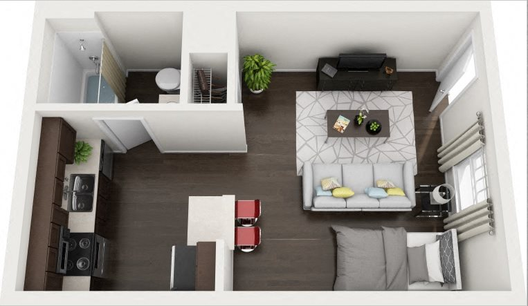 A1 Studio Renovated Floor Plan 2
