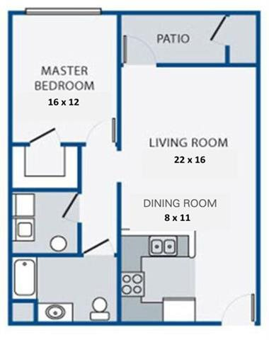 One Bedroom/One Bath with Patio Floor Plan 2