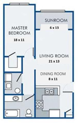 One Bedroom-One Bath with Sunroom Floor Plan 1
