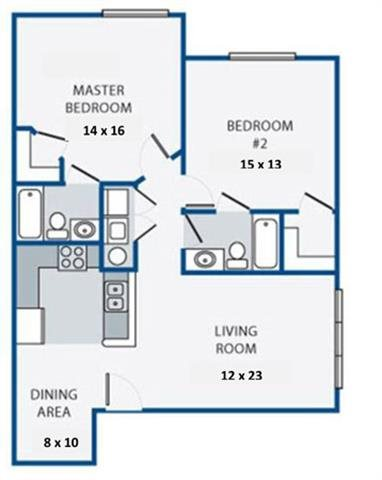 Two Bedroom/Two Bath Floor Plan 4