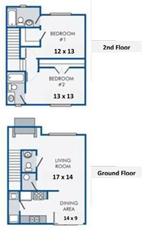 Two Bedroom-Two and a Half Bath Floor Plan 5