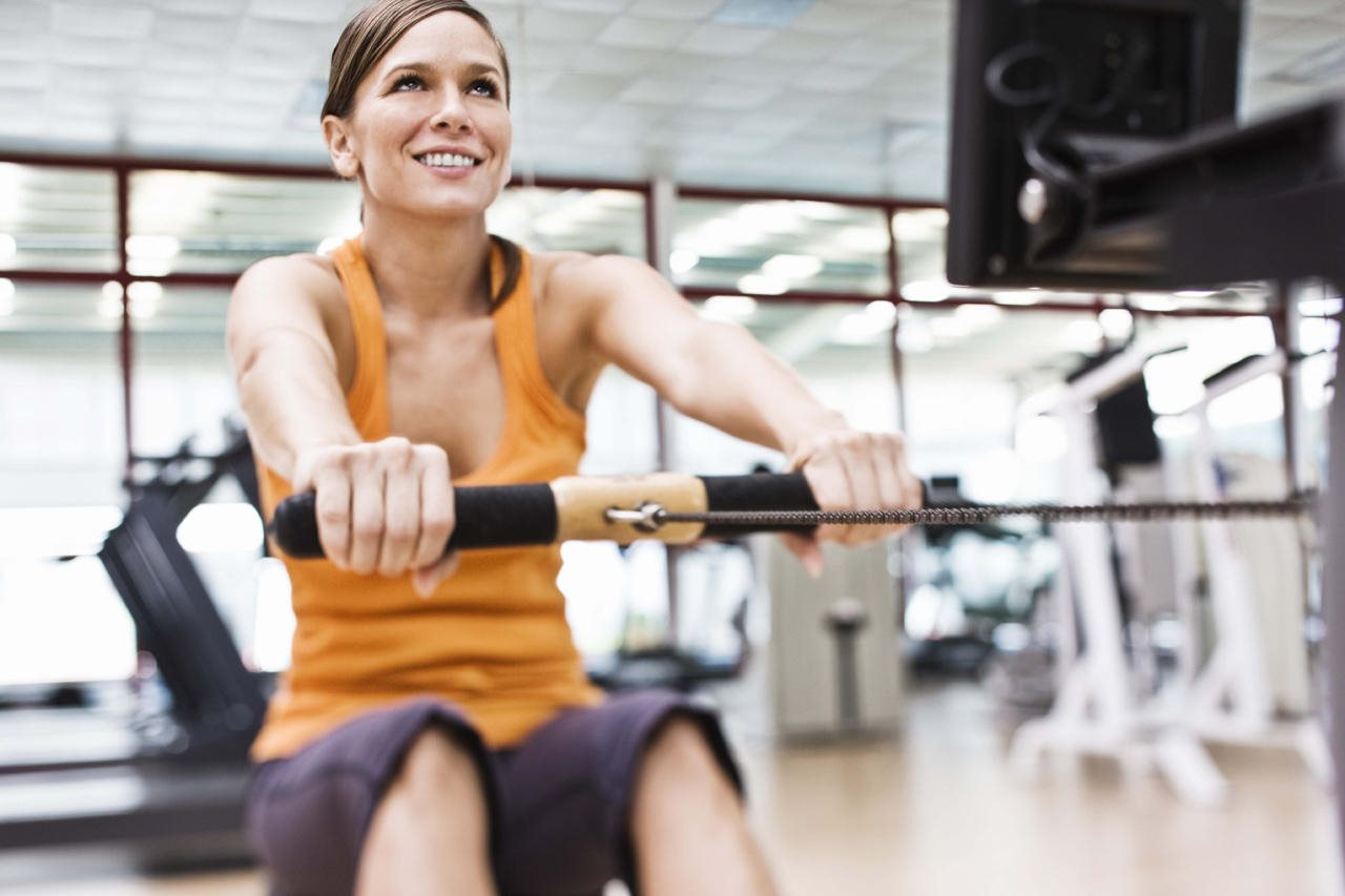 Woman working out in the fitness center
