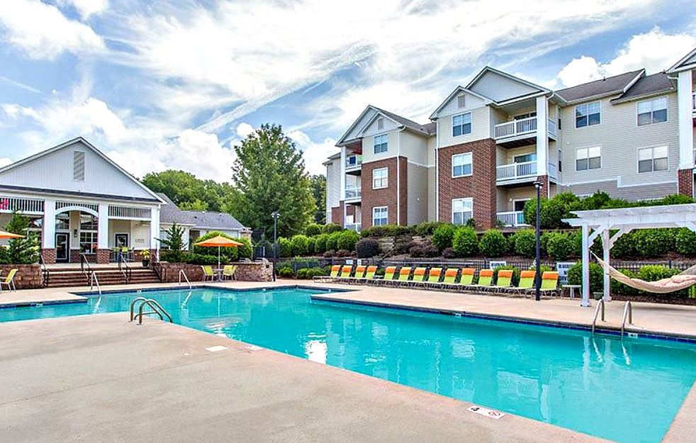 Resort Style Swimming Pool and Sundeck at Hawthorne at Main in Kernersville NC