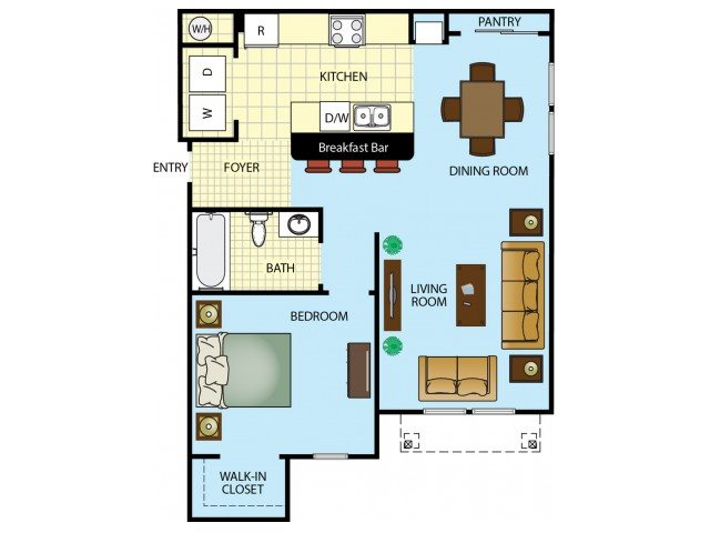 One Bedroom One Bathroom Floor Plan 1