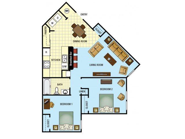 Two Bedroom One Bathroom Floor Plan 2