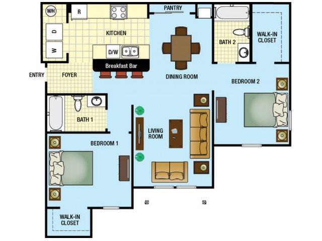 Two Bedroom Two Bathroom Floor Plan 3
