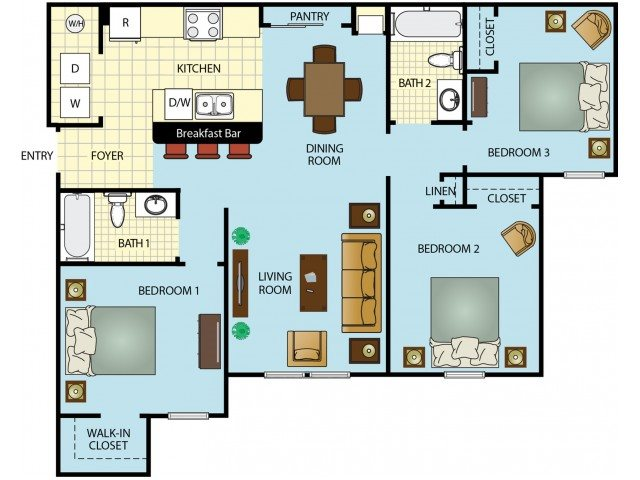 Three Bedroom Two Bathroom Floor Plan 4