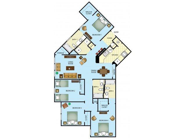 Four Bedroom Three Bathroom Floor Plan 5