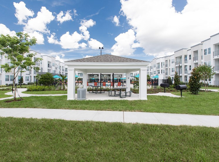 Landstar Village in Orlando, FL near Lake Nona. Make this community your new home or visit other Concord Rents communities at ConcordRents.com. Picnic tables