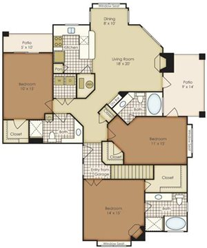 Three Bedroom 1C2BG-2C2BG