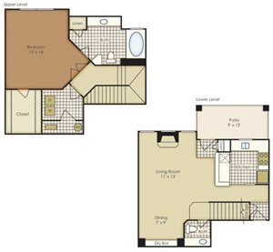 One Bedroom Townhome 1A2TAG-1A2TAGU-2A2TAGU