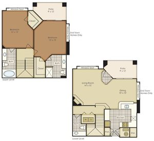 Two Bedroom Townhome 1B3TAG-2B3TAG