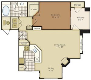 One Bedroom 1A1B-3A1D