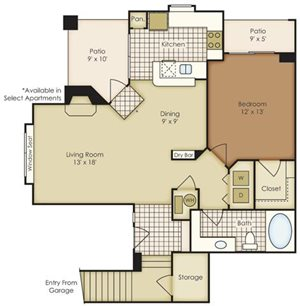 One Bedroom 1A1EG-2A1CG