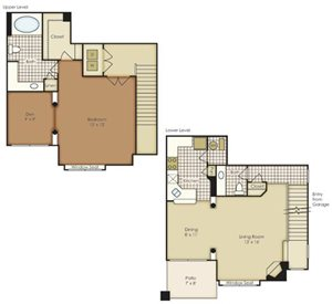 One Bedroom Townhome with Den 1A2TNAGU-2A2TNAGU-1A2TNAG