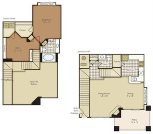 One Bedroom Townhome with Den 1A2TNBG-2A2TNBG