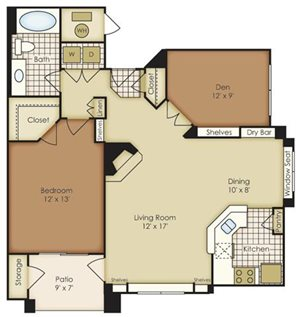 One Bedroom with Den 1A1N-3A1N2