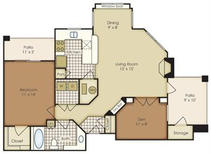 One Bedroom with Den 3A1N1