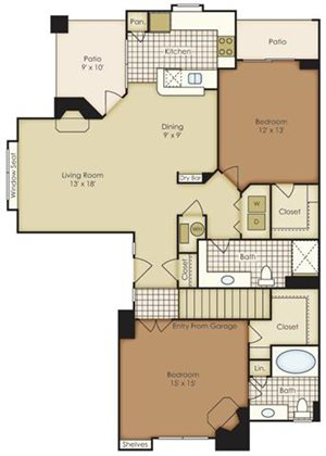 Two Bedroom 1B2DG-2B2DG