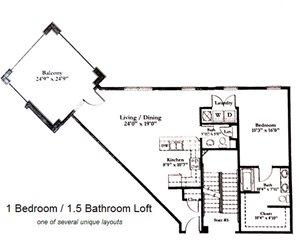 1 Bedroom_1.5 Bath Loft