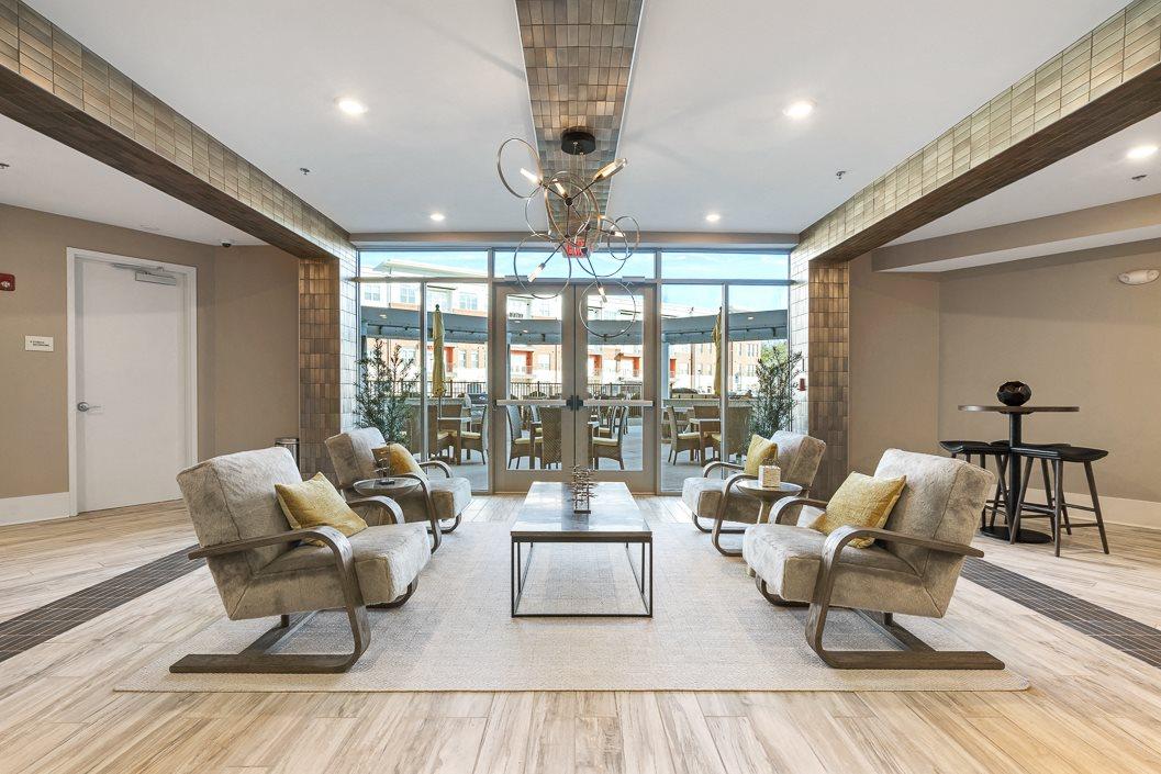 Stylish resident lounge at Hawthorne at Friendly Greensboro NC