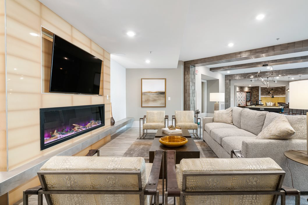 Cozy fireplace lounge at Hawthorne at Friendly
