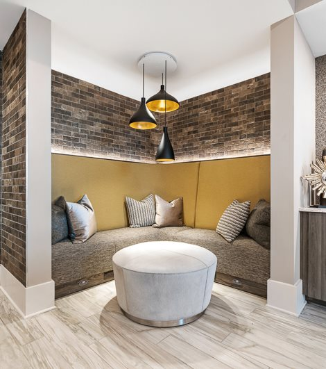 Cozy corner in resident lounge at hawthorne at friendly apartments