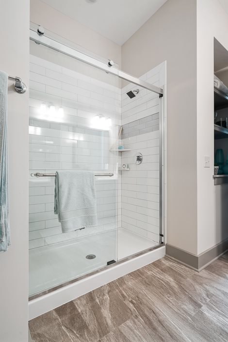 Luxurious walk-in shower with glass doors hawthorne at friendly