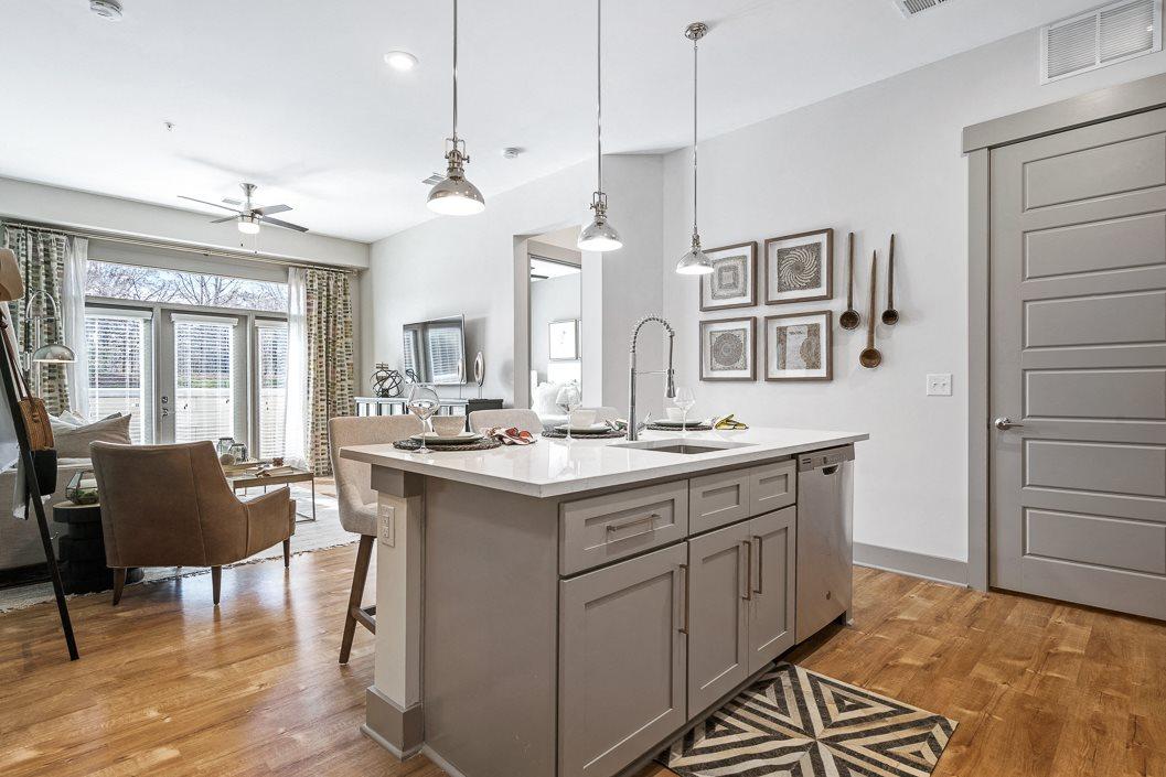 Open concept floor plan with kitchen island hawthorne at friendly