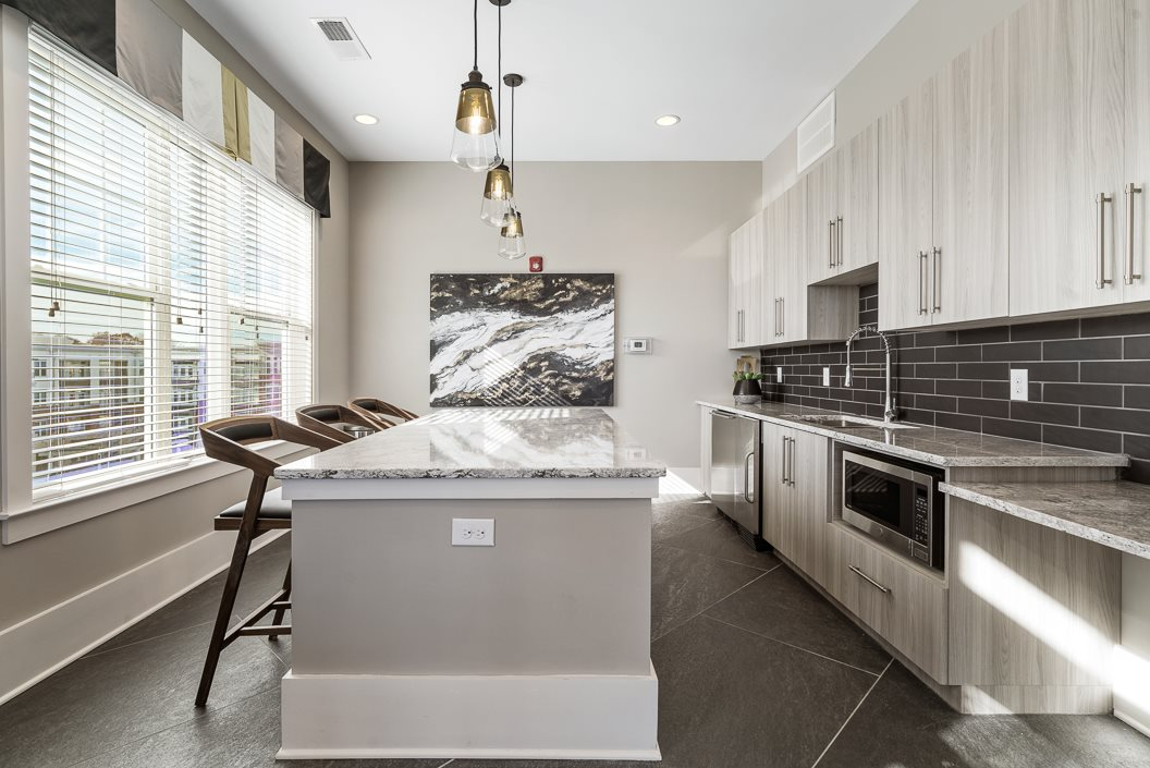 Entertaining Kitchen in the Sky Lounge with Views of Downtown Greensboro