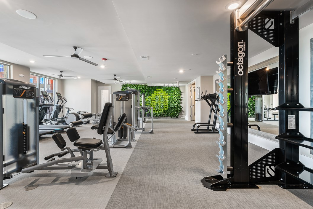 Wellness Club with Living Wall, Cardio and Strength Training Equipment