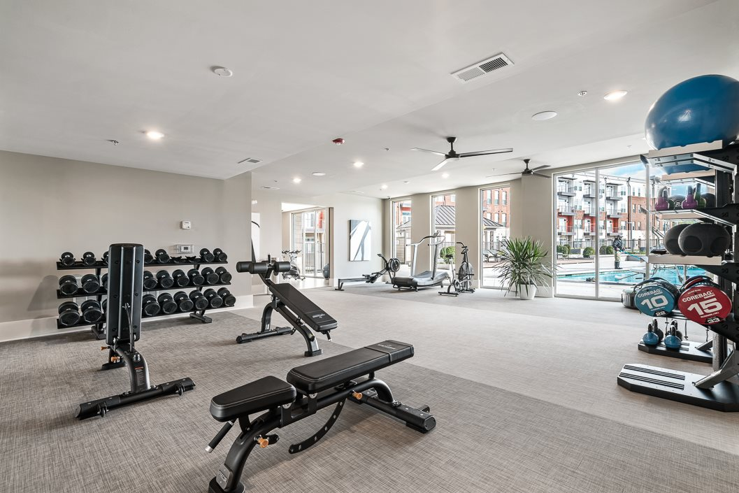 Free Weights in Fitness Center Hawthorne at Friendly