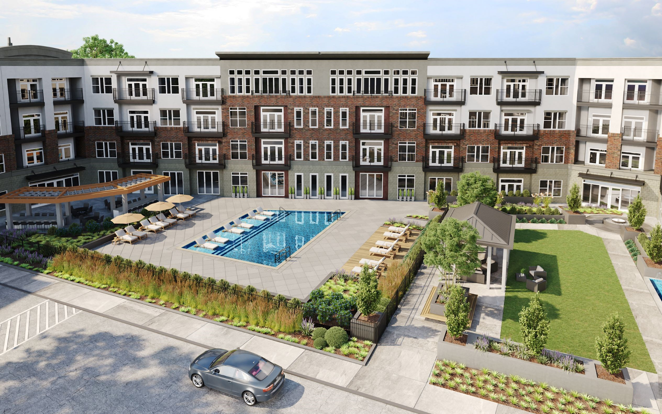 Luxury swimming pool at Greensboro apartments hawthorne at friendly