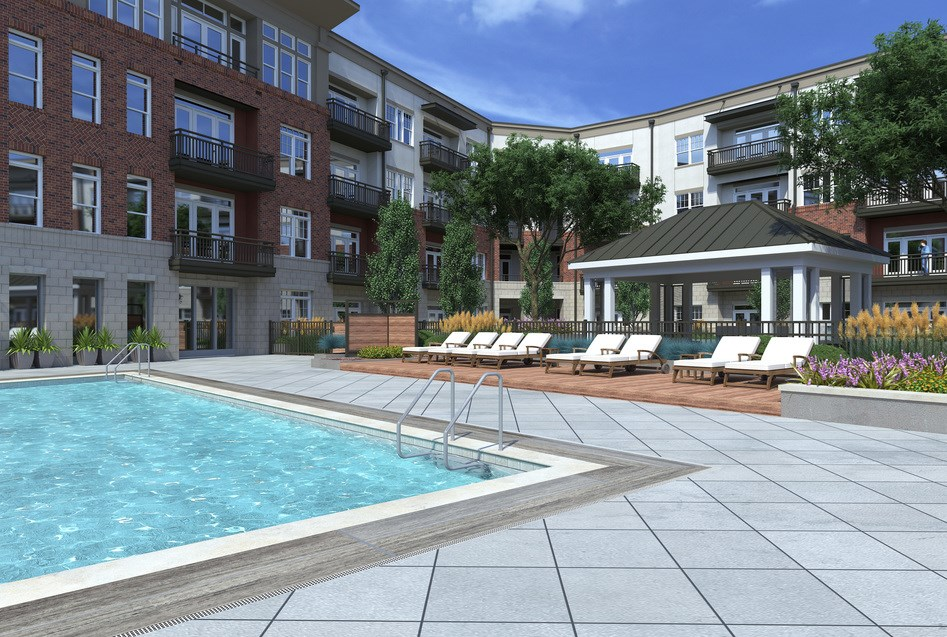 Swimming Pool with cabana at Greensboro apartments hawthorne at friendly