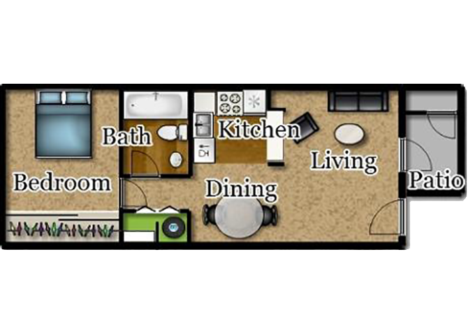 One Bedroom | One Bath Floor Plan 2