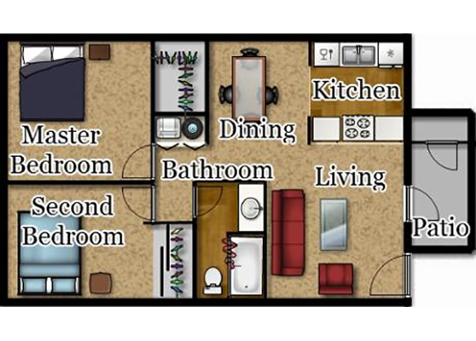 Two Bedrooms | One Bath Floor Plan 3