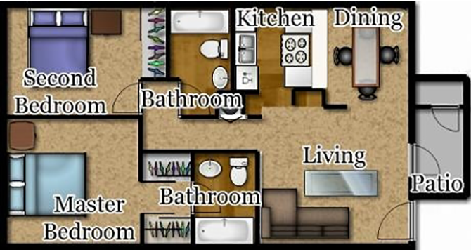 Two Bedrooms | Two Baths Floor Plan 4
