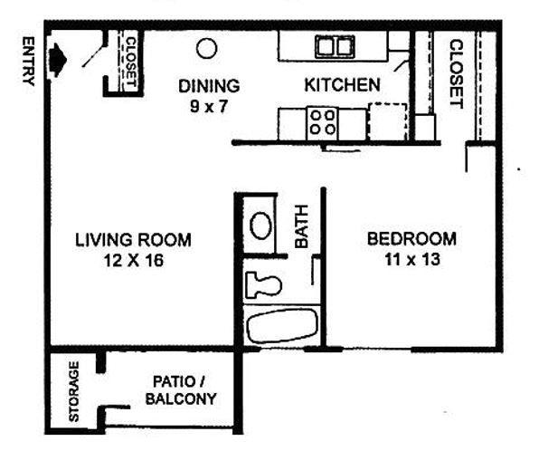 C   One Bedroom Floor Plan 3